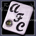 Sterling Silver and Peridot 'Initials' Tie Tac Image