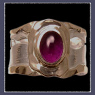 18 karat Yellow Gold, Sterling Silver and Cabochon Amethyst Ring Image