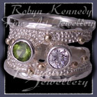 10 Karat Yellow Gold, Sterling Silver, Peridot & Cubic Zirconia 'Chic Cherie' Ring Image