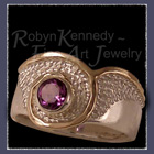 14 Karat Yellow Gold, Sterling Silver and Amethyst 'Cosmo' Ring Image
