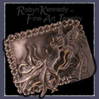Sterling Silver and 14 K Gold Dragon Belt Buckle Image