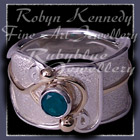!4 Karat Yellow Gold, Sterling Silver & Emerald, 'Serenity' Ring Image