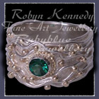 !4 Karat Yellow Gold, Sterling Silver Emerald Green 'Joy' Evergreen Topaz Ring Image