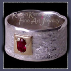 18 K Yellow Gold, Sterling Silver and Ruby 'First Love' Ring Image