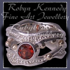 10 Karat Yellow Gold, Sterling Silver and Mozambique Garnet 'Jovial' Ring Image