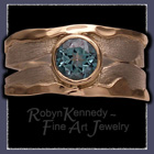 10 Karat Yellow Gold, Sterling Silver and Diffused Teal Topaz 'Show Tealer' Ring Image