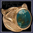 18 Karat Yellow Gold Cast Ring set with Turquoise Image