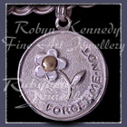 14 Karat Yellow Gold and Sterling Silver Forget-Me-Not 'Engraved Medallion' Charm Image