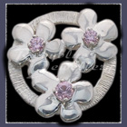 Sterling Silver 'Circle of Flowers' with Birthstones Lapel Pin Image