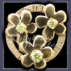 Gold 'Circle of Flowers' with Birthstones Lapel Pin Image
