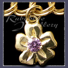 Gold Single Blossom Charm set with February Gemstone Image
