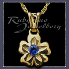 Gold 'Single Blossom' Pendant set with September Birthstone Image