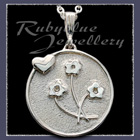 Sterling Silver 'Heart and Flowers' Pendant Image
