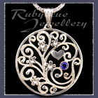 Sterling Silver 'Forget-Me-Not Bouquet' Pendant set with September Gemstone Image