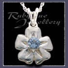 Sterling Silver 'Single Blossom' Pendant set with March Birthstone Image