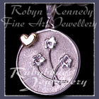 14 Karat Yellow Gold and Sterling Silver Forget-Me-Not 'Heart and Flowers' Charm Image