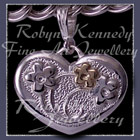 14 karat Yellow Gold and Sterling Silver Forget-Me-Not 'Heart' Charm Image