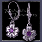 Forget-Me-Not Sterling Silver Single Bloom Euroback Earrings