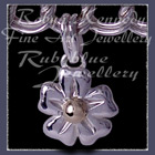 14 Karat Yellow Gold and Sterling Silver Forget-Me-Not 'Single Blossom' Charm Image
