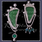 Sterling Silver, Great Lakes Beach Glass, Rainforest Green Topaz and Swarovski Crystal Earrings Image