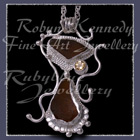 Sterling Silver, Great Lakes Beach Glass and Honey Topaz 'Beachglass' Pendant 4 Image