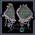 Sterling Silver, Great Lakes Beach Glass, Rainforest Green Topaz and Swarovski Crystal Earrings
