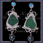 Sterling Silver, Great Lakes Beach Glass, Paraiba Topaz and Black Pearl Earrings Image