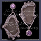 Sterling Silver, Great Lakes Beach Glass and Lavendar Cubic Zirconia Earrings Image