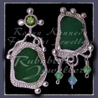 Sterling Silver, Great Lakes Beach Glass, Peridot and Swarovski Crystal Earrings Image