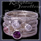 Sterling Silver, Amethyst, Baby Pink Topaz and Sworovski Cubic Zirconias 'Revelry' Stacker Ring Image