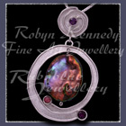 Argentium Silver, Sterling Silver, Pearl, Rhodolite Garnet and Amethyst 'Astral-Essence' Pendant Image