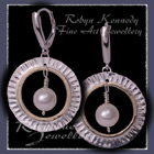 10 Karat Yellow Gold, Sterling Silver & Freshwater Pearls 'Aurora' Earrings Image