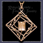 14 Karat Yellow & White Gold, Rutilated Quartz and Diamonds 'Aurora' Pendant Image