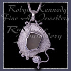 Sterling Silver, Great Lakes Beach Glass and Cubic Zirconia  'Beachglass' Pendant  14 Image