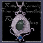 Sterling Silver, Great Lakes Beach Glass and Teal Blue Topaz 'Beachglass' Pendant 16 Image
