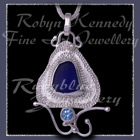 Sterling Silver, Great Lakes Beach Glass and Ice Blue Topaz 'Beachglass' Pendant 13 Image