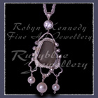 Sterling Silver, Great Lakes Beach Glass, Cubic Zirconia and White Freshwater Pearls 'Beachglass' Pendant 17 Image