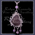 Sterling Silver, Great Lakes Beach Glass, Lavendar Cubic Zirconia and Freshwater Pearls  'Beachglass' Pendant 18 Image