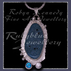 Sterling Silver, Blue Drusy, Paraiba Blue Topaz and Cubic Zirconia 'Blue Sugar' Pendant Image