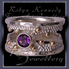 10 Karat Yellow Gold, Sterling Silver and Amethyst 'Chic' Ring Image