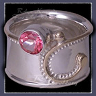 14 Karat Yellow Gold, Sterling Silver and Pure Pink Topaz  'Delilah' Ring Image