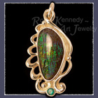 18 Karat Yellow Gold, Ammolite and Emerald Pendant Image
