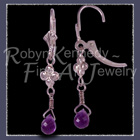 14 Karat White Gold and AA Grade Amethyst Briolette Gems 'Enchanted' Amethyst Earrings