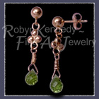 14 Karat Yellow Gold and AA Grade Genuine Peridot Briolette Gemstone 'Enchanted' Peridot Earrings Image