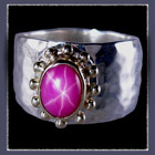 14 Karat Yellow Gold, Sterling Silver and Star Ruby 'Eternal Star' Ring by Rubyblue Jewelry