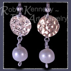 10 Karat Yellow Gold, Sterling Silver and Cultured Pearls 'Fair Lady' Earrings Image