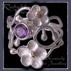 10 Karat Yellow Gold and Sterling Silver 'Feelin' Groovy' Amethyst Ring Image