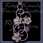 10 Karat Yellow Gold, Sterling Silver and Amethyst 'Feeling Groovy' Pendant Image