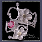 10 Karat Yellow Gold, Sterling Silver and Passion Pink Topaz 'Feelin' Groovy I' Ring Image