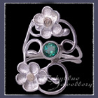 10 Karat Yellow Gold and Sterling Silver 'Feelin' Groovy' Rainforest Green Topaz Ring Image